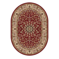Tayse Rugs - Elegance Red, Blue and Beige Oval: 6 Ft. 7 In. x 9 Ft. 6 In. Rug - - The detailed oriental medallion design of this area rug make a statement of elegance to any room. Soft polypropylene fibers make it soft, warm, and easy to clean. Rich hues of red, gold, ivory and black. Vacuum and spot clean.  - Square Footage: 63  - Pattern: Oriental  - Pile Height: 0.39-Inch Tayse Rugs - 5390  Red  7x10 Oval