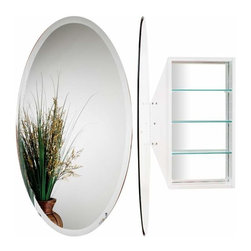 Alno Inc. - Alno Creations Oval Mirror Cabinet White Mc4910-W - Alno Creations Oval Mirror Cabinet White Mc4910-W