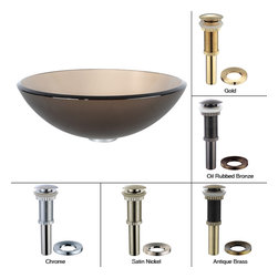 Kraus - Kraus Frosted Brown Glass Vessel Sink with PU-MR Satin Nickel - *Fashionable bathroom sink is the perfect harmony of elegance and style