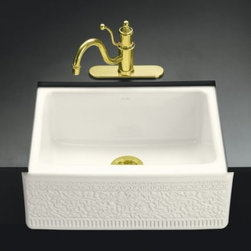 KOHLER - KOHLER K-14572-FC-96 Interlace Design on Alcott Undercounter Kitchen Sink with F - KOHLER K-14572-FC-96 Interlace Design on Alcott Undercounter Kitchen Sink with Five-Hole Faucet Drilling in BiscuitThe Interlace kitchen sink reflects the late 19th-century European revival of Oriental motifs in architectural facades. Crafted of fireclay to provide a durable, nonporous product with a hard, glossy finish, this sink is available in a palette of KOHLER colors to complement any decor.Please see our Delivery Notes for Freight Shipments for products that are oversized and/or are too heavy to ship UPS ground. KOHLER K-14572-FC-96 Interlace Design on Alcott Undercounter Kitchen Sink with Five-Hole Faucet Drilling in Biscuit, Features:• Kohler plumbing products mean beautiful form as much as reliable function
