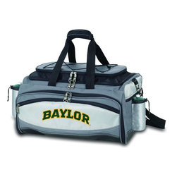"Picnic Time - Baylor University Vulcan Cooler And Propane Barbecue Set - The Vulcan is a Picnic Time original design and the ultimate tailgating cooler and propane barbecue set in one! Don't be fooled by other similar looking items on the market. Only Picnic Time's Vulcan features a PVC cooler that conveniently nests inside the compartment that houses the portable propane BBQ. The tote can carry the BBQ and a fully-loaded cooler at the same time! This patented, innovative design features a large insulated and fully-removable, water-resistant cooler that measures 16 x 8 x 7"" and holds up to 24 12-oz soda cans. Unzip the cooler from the main tote to access the portable propane barbecue grill that's included. The cooler has two carry straps on either side, and features a mesh pocket on the interior lid that fits a large ice pack/gel pack. The Vulcan also features an adjustable shoulder strap with comfort pad, a reinforced waterproof base, three large zippered exterior pockets to store personal effects, 2 drawstring pockets to hold propane tanks (not included), padded carry handles, and a stretch cargo cord on the top of the tote to carry a blanket or towel. Included in the tote are: 1 portable LP (propane) BBQ grill with lid (16.7 x 10.8 x 5.1""), one black drawstring bag to hold the grill, and three stainless steel tools with aluminum handles and non-slip thumb grips: 1 large spatula featuring a built-in bottle opener, grill scraper, and serrated edge for cutting, 1 pair of tongs, and 1 BBQ fork. Don't be caught without the Vulcan at your next tailgating party!; College Name: Baylor University; Mascot: Bears; Decoration: Digital Print; Includes: 1 fully-detachable cooler with handles, 1 portable LP (propane) BBQ grill with lid (16.7 x 10.8 x 5.1""), one black drawstring bag to hold the grill, and three stainless steel tools with aluminum handles and non-slip thumb grips: 1 large spatula featuring a built-in bottle opener, grill scraper, and serrated edge for cutting, 1 pair of tongs, and 1 BBQ fork"