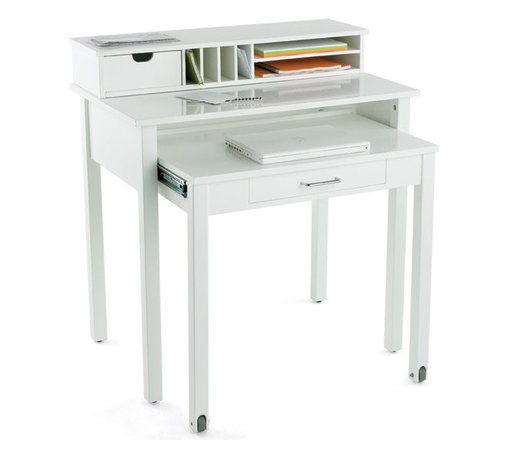 White Roll-Out Desk - I just used this desk in a project where the owner only had room for a desk next to her bed, and she had a desktop computer. It's compact but can be expanded to provide a nice amount of workspace.