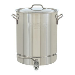 Barbour International - Bayou Classic 64Qt Stockpot with Stockpot - Bayou Classic 16 Gal (64 Qt) Stainless Steel Stockpot with Spigot and Vented Lid and Side Calibration in Gallon/Quart.