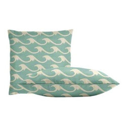 """Cushion Source - Cresting Waves Baltic Throw Pillow Set - The Cresting Waves Baltic Outdoor Throw Pillow Set consists of two 18"""" x 18"""" throw pillows featuring a cresting wave pattern in white on an aqua background. Perfect for the beach!"""