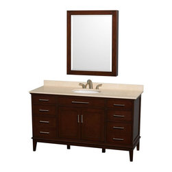 Wyndham Collection - Eco-Friendly Bathroom Vanity with Medicine Cabinet - Includes ivory marble countertop with backsplash and undermount oval porcelain sink. Faucet not included. Engineered to prevent warping and last a lifetime. 12-stage wood preparation, sanding, painting and hand-finishing process. Highly water-resistant low V.O.C. sealed finish. Transitional styling. Practical floor-standing design. Deep doweled drawers. Fully-extending under-mount soft-close drawer slides. 8 in. widespread 3-hole faucet mount. Concealed soft-close door hinges. Plenty of storage and counter space. Single faucet hole mount. Metal exterior hardware with brushed chrome finish. Made from solid birch hardwood. Dark chestnut finish. Backsplash: 60 in. W x 0.75 in. D x 3 in. H. Vanity with countertop: 60 in. W x 22 in. D x 35 in. H. Countertop: 60 in. W x 22 in. D x 0.75 in. H. Medicine cabinet: 28 in. W x 6.25 in. D x 36 in. H (72 lbs.). Vanity: 60 in. W x 22 in. D x 35 in. H (185 lbs.). Warranty. Care Instructions. Vanity Installation Instructions. Cabinet Installation Instructions. Counter Handling InstructionsBring a feeling of texture and depth to your bath with the gorgeous Hatton vanity series. A contemporary classic for the most discerning of customers. The Wyndham Collection is an entirely unique and innovative bath line. Sure to inspire imitators, the original Wyndham Collection sets new standards for design and construction. Compliments any bathroom.