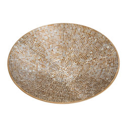 Vintage Maya - Gold Mosaic Tiled Platter - This shining mosaic platter will make a glorious statement in the center of your dining room table or kitchen island. Left as is or piled with fruit or candles, this gorgeous platter gleams in your home.