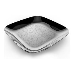 Alessi - Alessi 'Dressed' Square Tray - Dinner is served. Your guests will be delighted when dinner is presented on this stunning, mirror-polished square tray. The rolling relief technique used to create the intricate decoration is the signature of Dutch designer Marcel Wanders.