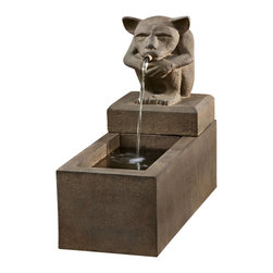 Campania - Sitting Gargoyle Plinth Garden Water Fountain, English Moss - The Sitting Gargoyle Plinth Fountain is the perfect center piece for your home or garden. This mythical fountain features a sitting gargoyle, whose mouth is the spigot, where water flows into the basin below. This fountain is sure to add a soothing and tranquil sound to your setting, while its beauty is sure to make a wonderful focal point for your garden.