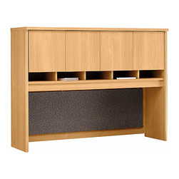 "Bush Business - 4 Door Hutch in Light Oak for 60 in. Desk, Cr - The impressive Light Oak Series C 4 Door Hutch for 60 inch Desk or Credenza includes a fabric-covered tack board and a fully finished back panel.  Four doors with European-style, self-closing, adjustable hinges conceal the spacious upper storage area. * Mounts on 60"" Credenza or on any 60""-wide desk combination. Includes fabric-covered tack board for organizing key information. Fully finished back panel allows hutch to act as work partition. Accepts task lighting (not included). Four doors conceal entire upper storage area. European-style, self-closing, adjustable hinges. 58.858 in. W x 15.354 in. D x 42.992 in. H"