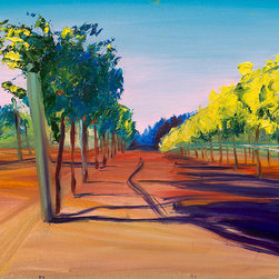 """Ann Rea - Bring home the Russian River Valley with """"Gazing at Vines"""" by Rea, oil painting - """"Kneeling down and gazing at the vines creates a whole other more dramatic perspective."""" -Ann Rea"""