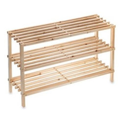Pro-mart Industries, Inc. - 3-Tier Stackable Wood Shoe Rack - 3-Tier Stackable Wood Shoe Rack provides convenient, organized storage for up to 9 pairs of shoes. Includes connectors to allow stacking of multiple units for added storage.