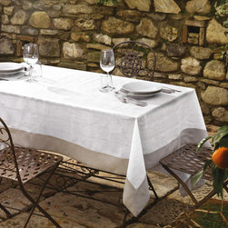 "Table Linens - 100% linen tablecloth with 3"" solid border. Available in two colours and in different sizes. Solid linen napkins are available. Made in Italy."