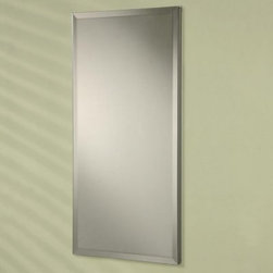Afina Broadway Recessed Single Door Medicine Cabinet - 20W x 4D x 26H in. - The Afina Broadway Recessed Medicine Cabinet - 20W x 4D x 26H inches is an ultra sleek way to create storage space in your bathroom. This medicine cabinet has the illusion of a simple mirror hung on the wall as it is mounted within a pre-cut hole. The door is fully mirrored with a beveled edge mirror outside a mirror inside the door and a fully mirrored back wall. The door opens 180 degrees to show three adjustable glass shelves inside. This medicine cabinet is made of rustproof satin anodized aluminum and has reversible hinges so it may be opened on the left or right. At 20W x 4D x 26H inches it is a natural choice for any size bathroom.