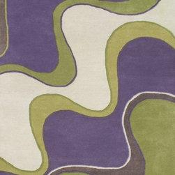 Alliyah Rugs - Purple, Green & Off-White Transitional Rug - Alliyah Handmade New Zealand Blended Wool Rug with Purple, Green & Off-White color. Antique Washed.