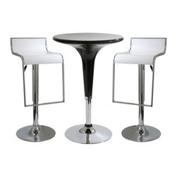Buffalo Tools - AmeriHome 3 Piece Modern Adjustable Height Bar Set - White/Black - 3 Piece Modern Adjustable Height Bar Set - White/Black by AmeriHome The AmeriHome 3 Piece Modern Adjustable Height Bar Set has a fun and funky design with clean, modern lines that fits in perfectly with a contemporary d??cor. This 3 piece bistro Bar Set is comfortable for 2 adults to have a small meal in the breakfast nook, a cup of coffee in the sunroom, or snacks watching the game in the basement TV room. Great for college dorms, office break rooms, and children?��s play rooms too. Sleek silhouettes with polished mirror-like chrome bases and shiny black molded seats give this set a clean, modern, loft-like style.  The Adjustable Height Bar Table and Bar Stools are made from durable ABS plastic. A dimple on the tabletop indicates where to find the height adjustment lever, so you won?��t have to bend over and search for it under the table. The bar stools are designed for comfort with a 14.75 inch wide molded 360 degree seats, hanging footrests and an adjustable seat height of 22 to 31 inches. Great features that make this 3 Piece Contemporary Adjustable Height Bar Set comfortable for everyone.  Fun and funky design has clean, modern lines and fits in perfectly with a contemporary d??cor.  Great table to provide extra space for your family and guests in the breakfast nook, sunroom or basement TV room Bar stool adjustable seat height: 22 to 31 in., bar stool weight capacity: 330 lbs., max seat back height 36 in. Bar table adjustable height: 28 to 36 in., bar table weight capacity: 265 lbs., 24 inch diameter table top Set includes 1 glossy black adjustable bar height table in and 2 glossy white adjustable counter height bar stools