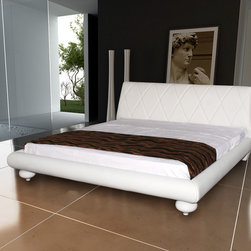Joy White Leather Platform Bed - The Joy White Leather Platform Bed offers white leather upholstery with cross line accent headboard and matching PVC for the frame. Available in King size only.