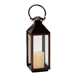 """Riado - Classic Mogador Lantern 7.5 x 21"""" BZ - Minimalism! These traditional style lanterns are found all over the luxury homes and hotels and are great to light the entrance, the yard, or simply cluster around the pool, at sunset."""