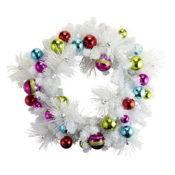 Pre-Lit Holiday Wreath - I love the brightness of this playful wreath. The colors against the white make this piece stand out in the best possible way. This wreath certainly boasts happy holidays.