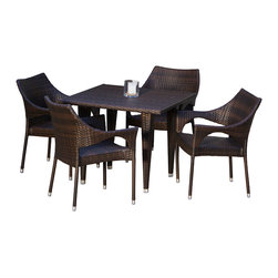 Great Deal Furniture - Del Mar 5-pieces Outdoor Wicker Dining Set - This stylish dining table, made of durable all-weather PE wicker, comfortably seats four but still offers an intimate setting suitable for a romantic meal. Our beautiful, one-of-a-kind wicker provides an aesthetic appeal that makes the table and chairs fit the most formal, most casual, and all decors in between. The rich, natural color of the wicker will fit with any nearby landscape, pool or screened porch. The arched backs add a touch of style while providing back support. Thanks to high levels of careful craftsmanship, the table surface is smooth for your entertaining needs.