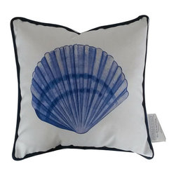 Handcrafted Nautical Decor - Blue and White Seashell Decorative Throw Pillow 10'' - This charming Blue and White Seashell Decorative Throw Pillow 10'' combines the  atmosphere of  the sea and represents sea life with a seashell placed prominently in the center of our pillow. This pillow will evoke memories of the waves washing up to the shore. Place this  pillow in   your home to show guests your affinity for sea life and beach  decor.----    Handcrafted by our master artisans--    Beautiful seashell design--         --    Blue and white nautical colors --    --