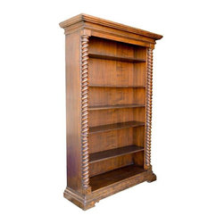 """Pre-owned Big Barley Twist Bookcase - Tall, dark and handsome! A bookcase for a castle, a villa or ...maybe your place! Beautifully made in Italy, probably in the last 25-40 years.       Features big barley twist columns on each side and a strong cornice and base. Excellent vintage condition. Deliberately distressed around the feet and cornice. Shelves are 11 inches deep, 44.5 wide and very adjustable. The holes for the pegs are metal lined - just one sign of quality.  Seller says: """"Note on one photo, a shelf looks warped, but that is because we put a peg in the wrong hole when we moved it toward the daylight to photograph it. It's fine!"""""""