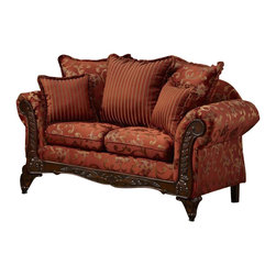 Chelsea Home - 69 in. Traditional Loveseat - Includes toss pillows. Fringe, contrasting striped pattern pillows. Subdued paisley pattern. Sara port fabric over high-density cover. Seating comfort: Medium. Plush, rolled arms. Dacron wrapped foam reversible seat cushions. Zippered cushions. 8.5 gauge medium loop sinuous springs spaced 5 in. apart. 1.8 density foam with 0.75 of fiber wrapping. Ornately carved wood trim. Fabric contains: 100% polyester. Made from mixed hardwoods and plywood. Made in USA. No assembly required. Seat: 46 in. L x 25.5 in. W x 22 in. H. Overall: 69 in. L x 34 in. W x 36 in. H (135 lbs.)The Chelsea Home Furniture Cecelia Collections brings sense of Victorian elegance to any living room area. This beautiful set, by Chelsea Home Furniture, epitomizes Chelseas legendary reputation for quality and comfort.