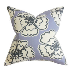 """The Pillow Collection - Winslet Floral Pillow Purple 20"""" x 20"""" - This accent pillow is a great way to lend character and color to your living space. A blossoming floral pattern in white and blue adorns a purple background. This decor pillow measures 20"""" and fits most furniture pieces like sofa, bed, loveseat and more. Mix and match this square pillow with solids and other patterns for a striking decor style. Hidden zipper closure for easy cover removal.  Knife edge finish on all four sides.  Reversible pillow with the same fabric on the back side.  Spot cleaning suggested."""