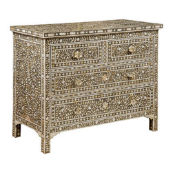 Bone Inlay Chest - Add exotic flair to your boudoir or living room with this gorgeous bone inlay chest.