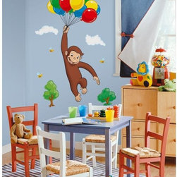 Roommates Decor - Curious George Giant Peel & Stick Wall Decals - What a mischievous little monkey! Bring all the fun and wonder of Curious George to your room with this giant wall graphic. Create your own mural with this extra large set of appliques, including clouds and a bunch of brightly colored balloons. Read the books, watch the cartoons... and now immerse yourself in his world! Be sure to check out our coordinating wall stickers and self adhesive border (both sold separately) for even more fun.
