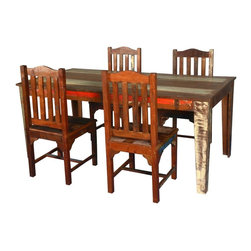 Sierra Living Concepts - Whitney Reclaimed Wood Dining Table With 4 Mission Chairs - Rustic reclaimed wood and a clean contemporary style makes Whitney dining table set the perfect blend of old and new.