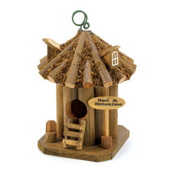 KOOLEKOO - Bed and Breakfast Birdhouse - Tiny travelers will rejoice at this cozy stopover spot! Quaint bed and breakfast is a snug shelter for its flying clientele, as well as an enchanting adornment for your garden.