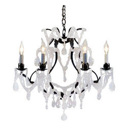 "The Gallery - Wrought Iron Crystal Chandelier Chandeliers H19"" x W20"". SWAG PLUG IN-CHANDEL... - 100% Crystal Chandelier. A Great European Tradition. Nothing is quite as elegant as the fine crystal chandeliers that gave sparkle to brilliant evenings at palaces and manor houses across Europe. This one-tier version from the Majesty Collection has 6 lights and is decorated and draped with 100% crystal that capture and reflect the light of the candle bulbs, each resting in a beautiful floral bobache.   The timeless elegance of this chandelier is sure to lend a special atmosphere anywhere its placed! Please note this item requires assembly. Size: H.19"" W.20"".THIS ITEM COMES WITH A SWAG PLUG-IN KIT , 14 FEET OF HANGING CHAIN AND WIRE"