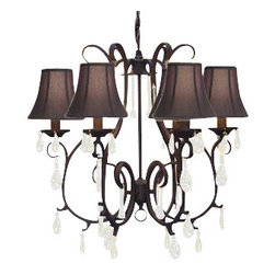 The Gallery - Wrought Iron Crystal chandelier with Black Shades - Why just turn on the light when you can turn on the drama? This exciting fixture features sparkling crystal drops juxtaposed against wrought iron and topped by fluted black shades.