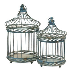 """IMAX - Lizzy Bird Cages - Set of 2 - The set ofeetwo Lizzy Bird Cages have a versatile style and a multitude of uses. Fill with moss covered topiary balls, or faux florals. Change the decor for each ofeethe seasons and holidays or add a different style depending on the room you display them! Item Dimensions: (45-57""""h x 29-36""""w x 29-36"""")"""