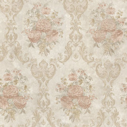 Dutchess Salmon Floral Damask Wallpaper Bolt - Inspired by romance and luxury this dreamy damask wallpaper sets a dreamy scene in any room. Taupe and peach silk.