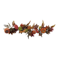 """Nearly Natural - Nearly Natural 54"""" Pumpkin and Gourd Garland - Here's a decoration that's both clever and beautiful at the same time. We say clever because this 54"""" pumpkin garland comes adorned with several small faux pumpkins and other sundries along with the autumn-colored stems and leaves you expect. Makes an ideal Thanksgiving or general fall-themed decoration (and you thought Garland was just for the Christmas tree!)"""