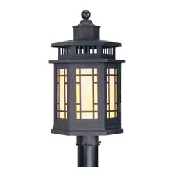 Livex Lighting - Livex Lighting 2394-07 Outdoor Post Head - Glass Type/Shade Type: Tiffany Art Glass