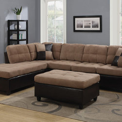 Coaster - Mallory Sectional with Ottoman, Tan - Bring an inviting and warm atmosphere to your living room with our Mallory sectional. Chocolate or tan microfiber match is paired with tri-tone leather-like vinyl to create a casual style. Loose seat and back cushions will keep you and your guests comfortable and complementary accent pillows add style to this piece. Our Mallory sectional has reversible construction making it easy to change the look of your room. Pair this piece with a matching ottoman.
