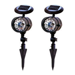 Pier Surplus - Solar LED Spotlights - Solar Spotlights for Outdoors, Set of 2 #SO10075 - Position each of this pair of spotlights on prominent yard ornaments or statues without having to deal with outdoor electrical wiring. Each LED solar light comes with a stake that can be inconspicuously anchored into the ground. The Branson solar spotlights shine hours of light in your garden, making these a great choice for eco-conscious people. These are also versatile and can be used for evening receptions that are held outdoors.