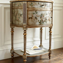 Horchow - Demilune File Box - Exclusively ours. This pretty piece has all the character it needs to stand alone as a functional accent piece. Hinged lid; faux drawer and door hardware. Constructed of hardwood and wood composite, it stands on four narrow, intricately carved legs t...