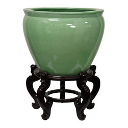 "Oriental Furniture - 14"" Celadon Porcelain Fishbowl - A beautiful Asian style fishbowl, finished in a traditional high gloss pale jade celadon glaze. Japanese, Chinese, Korean, and Thai artisans have finished ceramics in an almost infinite variety of celadon glazes since the eleventh century. Soothing celadon color suits traditional, eclectic, and modern interior decor."