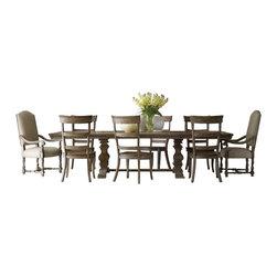 Hooker Furniture - Hooker Furniture Sorella 9 Piece Rectangular Dining Table Set in Brown - Hooker Furniture - Dining Sets - 5107752069PCPKG -