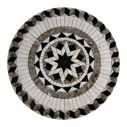 "Floor Medallions Online - 24"" Mosaic Medallion - Visalia - A mosaic medallion of sharp contrast, the Visalia is a bold, yet beautiful choice for any room."