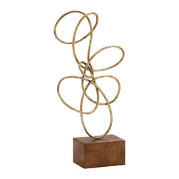 Stylish and Antique Themed Metal Gold Abstract Sculpture - Description: