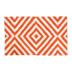 """Jonathan Adler - Jonathan Adler Arcade Bath Rug - Chic is made simple with Jonathan Adler's graphic Arcade bath mat. A series of orange and white diagonals form the floor covering's geometric pattern for modern panache. 21""""W x 34""""L 100% cotton; Tufted and loop"""