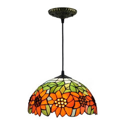 "ParrotUncle - 12"" Sunflower Tiffany Style Ceiling Pendant Lighting Fixtures - 12"" Sunflower Tiffany Style Ceiling Pendant Lighting Fixtures"