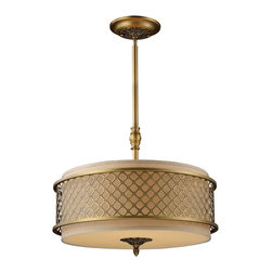 Elk Lighting - Elk Lighting ELK-31033-4 Chester Transitional Pendant Light - The distinguished metal lace pattern, finished in brushed Antique Brass, is the principle design feature which envelopes a rich cream fabric shade. A frosted amber glass diffuser completes the design while masking the direct light for a warm, ambient radiance.