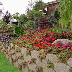 Garden Beds and Edging With Verdura® Retaining Wall Blocks - Verdura® is a plantable retaining wall system that provides the strength and function of a standard retaining wall with the added ability to sustain live plantings.  Applications include garden beds and edging.