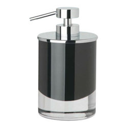 Windisch - Round Black or White Crystal Glass Soap Dispenser with Chrome Pump, White - Contemporary style bathroom counter round soap dispenser. Hand soap dispenser container is made out of crystal glass in either black or white. Gel dispenser pump is made out of brass with a polished chrome finish. Made in Spain by Windisch. Countertop round lotion dispenser. Crystal glass in a black or white finish. Contemporary, modern style. From the Windisch Fashion Crystal Color Round Collection.