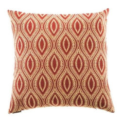 "Canaan - 24"" x 24"" Carino Paprika Oblong Oval Pattern Throw Pillow - Carino paprika oblong oval pattern throw pillow with a feather/down insert and zippered removable cover. These pillows feature a zippered removable 24"" x 24"" cover with a feather/down insert. Measures 24"" x 24"". These are custom made in the U.S.A and take 4-6 weeks lead time for production."